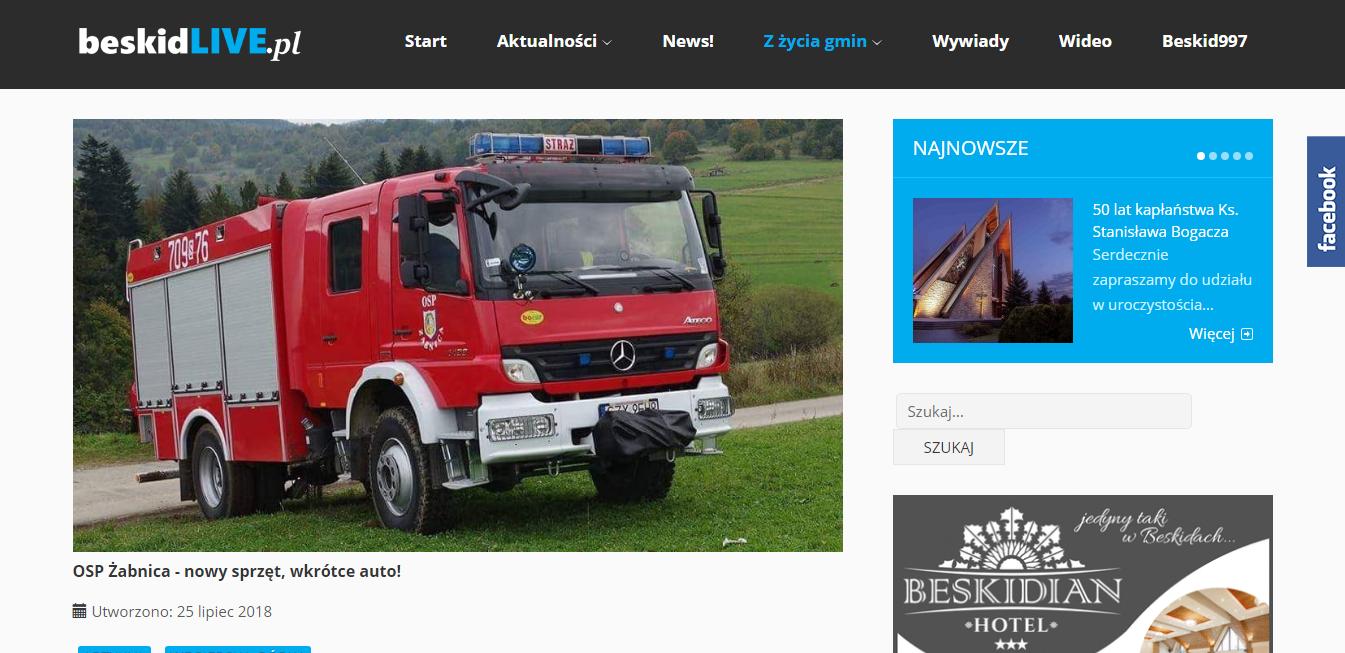 Beskidlive.pl – OSP Żabnica nowy sprzęt, wkrótce auto!
